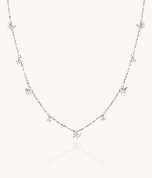 FIVE BUTTERFLIES slv necklace